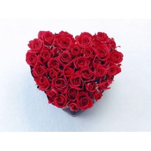 Сердце из красной розы код 2007