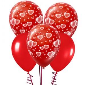 Шарики красные 30 см с сердечками 5 шт.