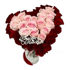 Букет из роз в форме сердца 45 шт код 1077